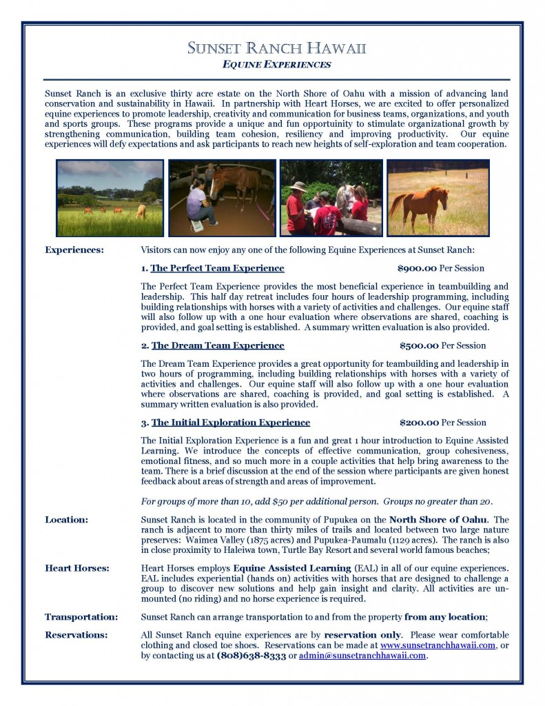 Sunset Ranch - Equine Experiences_2015