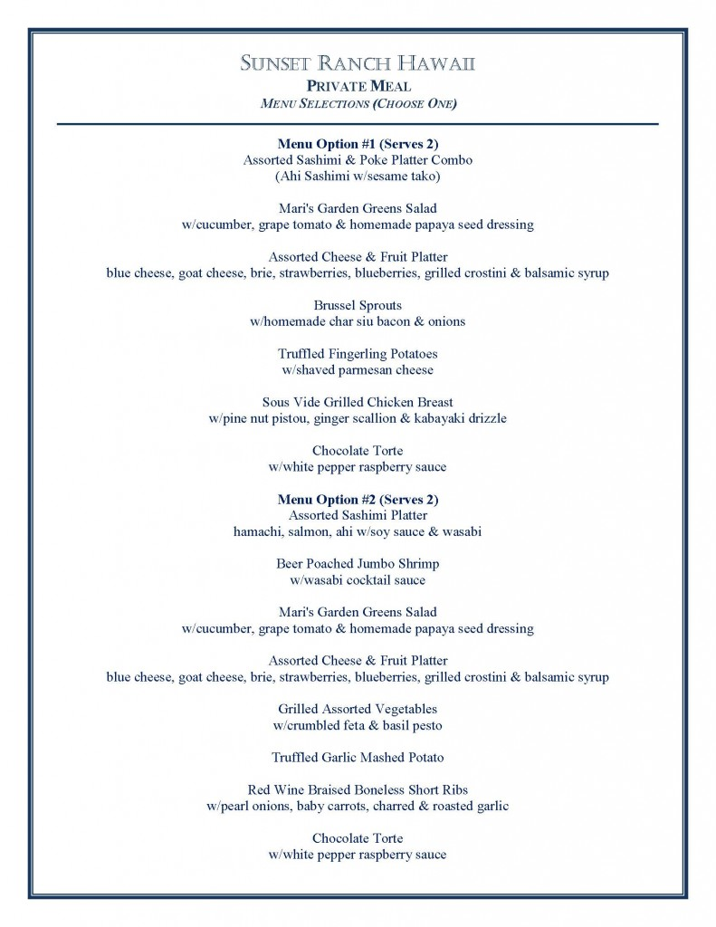 Sunset Ranch_Private Dining Menu Options_2017